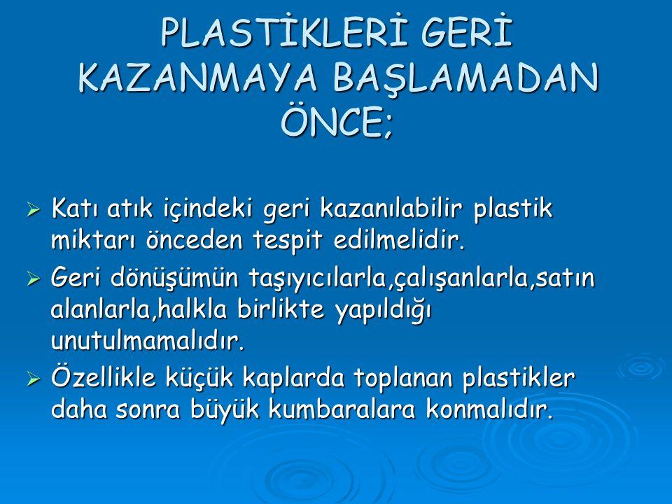 PLASTİKLERİ GERİ KAZANMAYA BAŞLAMADAN ÖNCE;