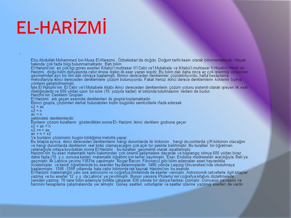 EL-HARİZMİ www.hayalkatibi.com