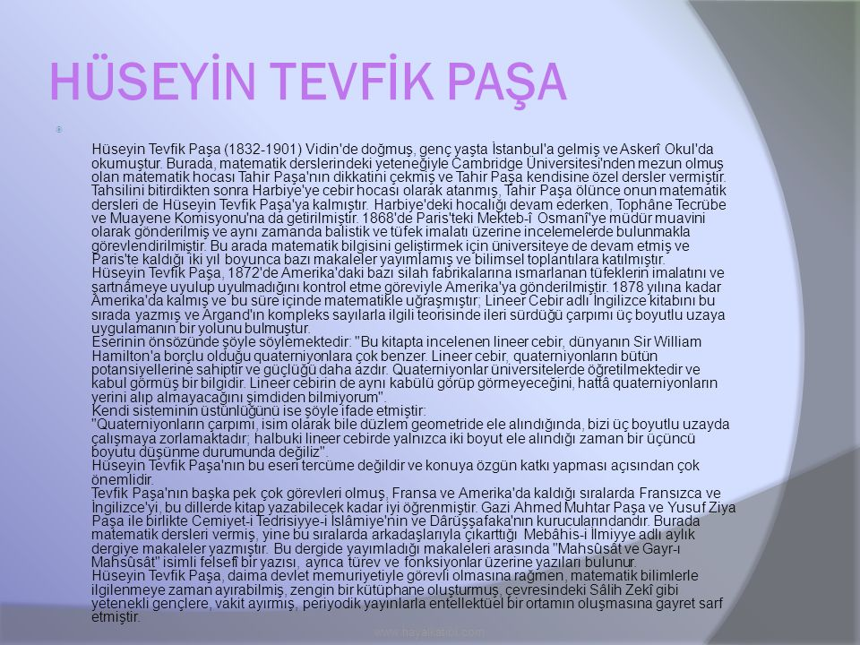 HÜSEYİN TEVFİK PAŞA www.hayalkatibi.com
