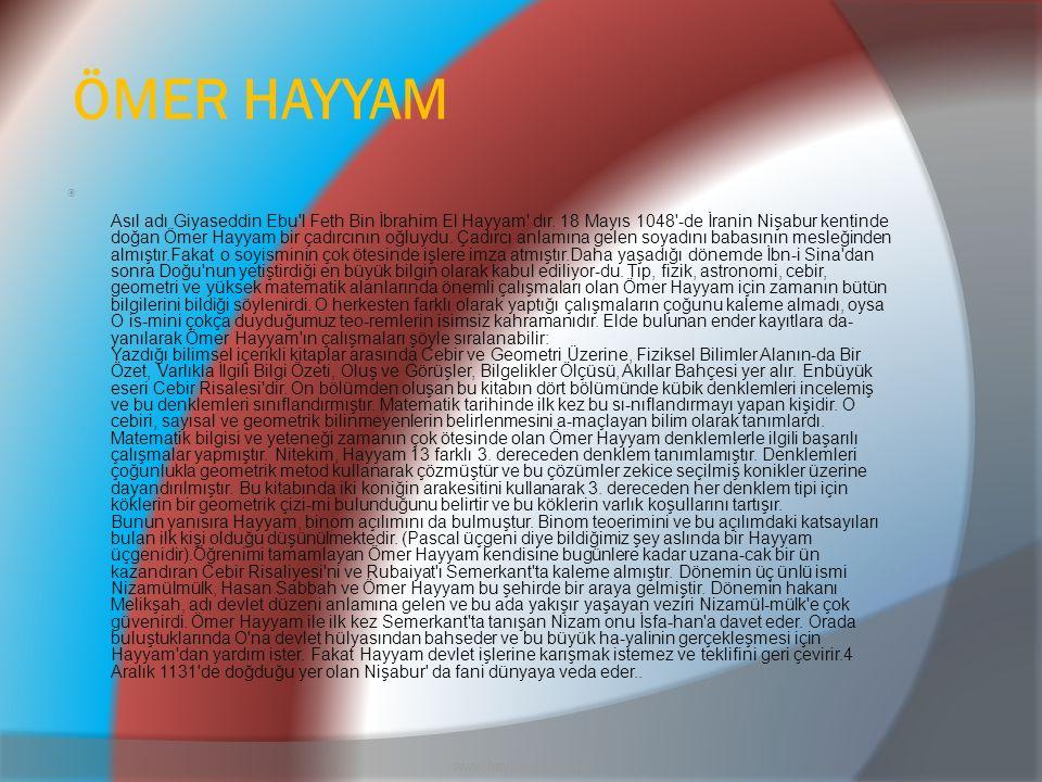 ÖMER HAYYAM www.hayalkatibi.com