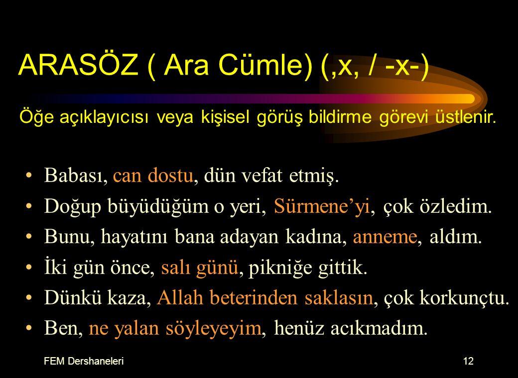 ARASÖZ ( Ara Cümle) (,x, / -x-)