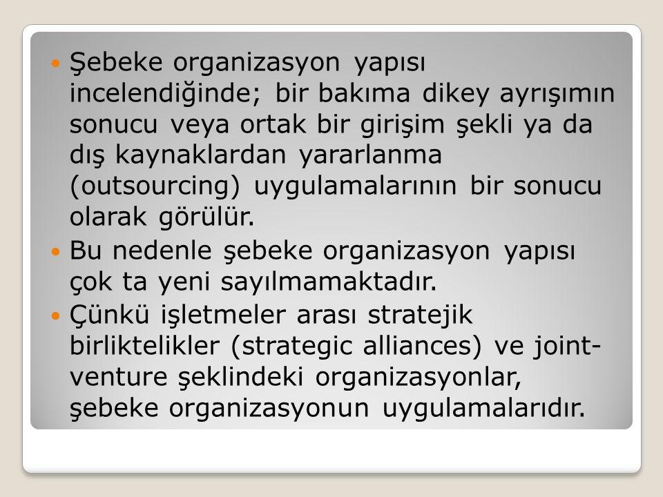 Şebeke organizasyon yapısı incelendiğinde; bir bakıma dikey ayrışımın sonucu veya ortak bir girişim şekli ya da dış kaynaklardan yararlanma (outsourcing) uygulamalarının bir sonucu olarak görülür.