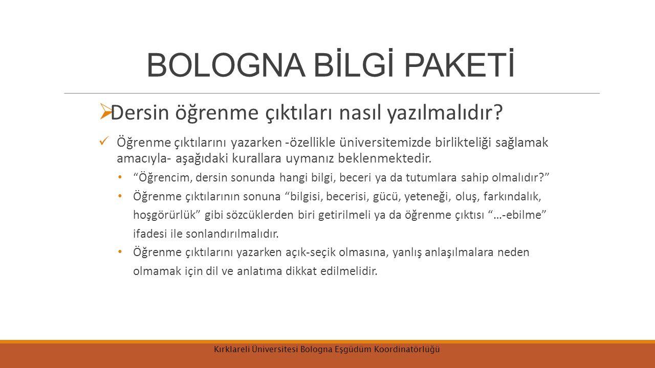 Kırklareli Üniversitesi Bologna Eşgüdüm Koordinatörlüğü