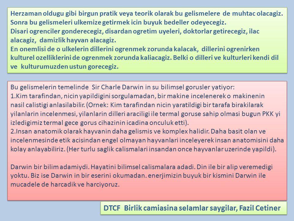 DTCF Birlik camiasina selamlar saygilar, Fazil Cetiner