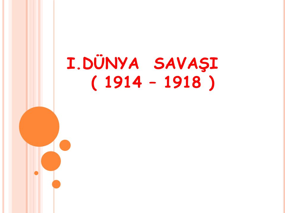 I.DÜNYA SAVAŞI ( 1914 – 1918 )