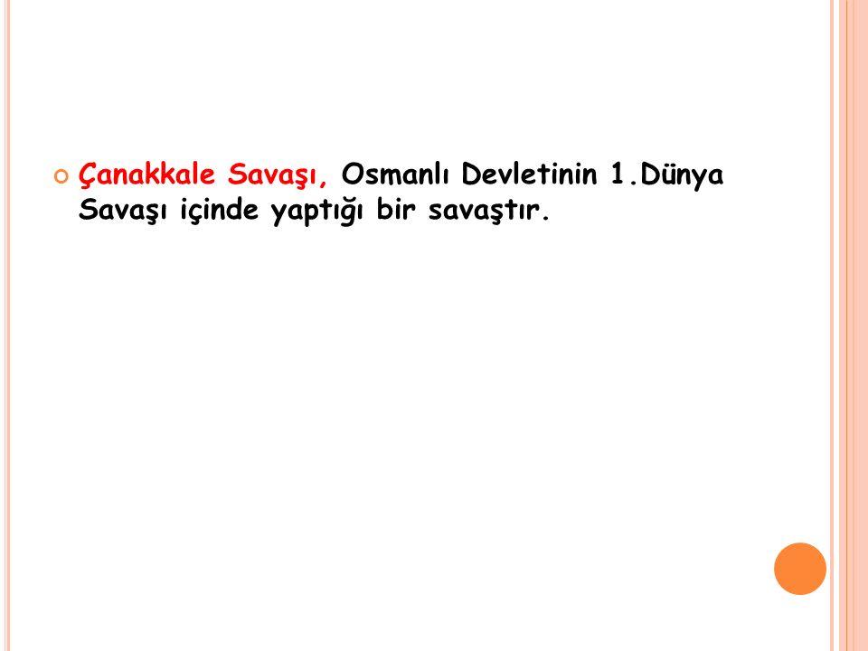 Çanakkale Savaşı, Osmanlı Devletinin 1