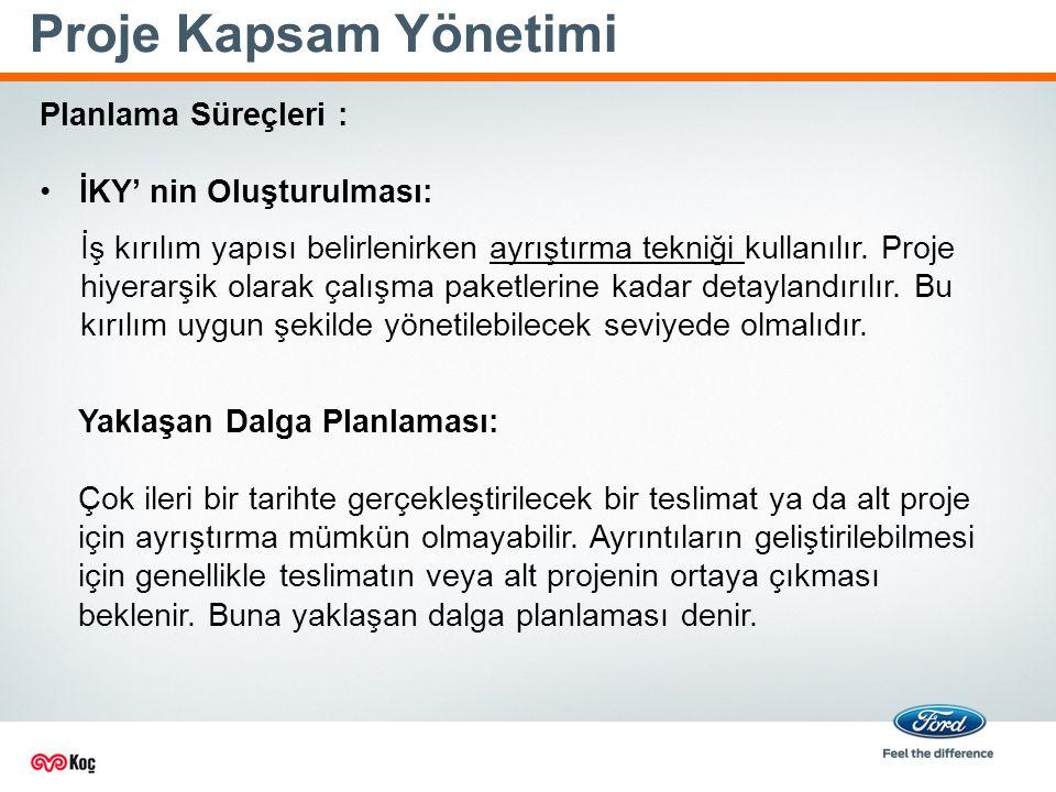 Proje Kapsam Yönetimi Planlama Süreçleri : İKY' nin Oluşturulması: