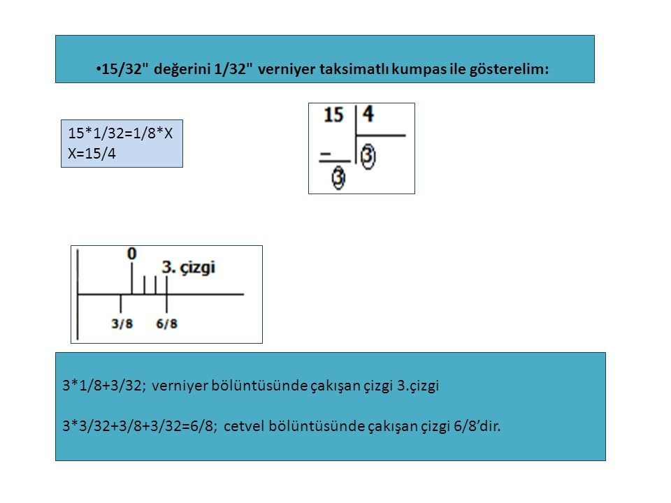 15/32 değerini 1/32 verniyer taksimatlı kumpas ile gösterelim: