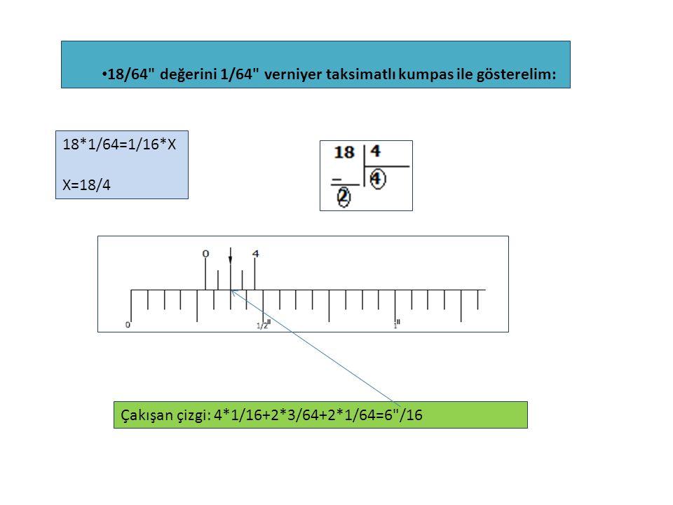 18/64 değerini 1/64 verniyer taksimatlı kumpas ile gösterelim: