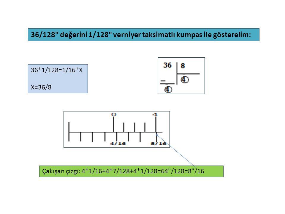 36/128 değerini 1/128 verniyer taksimatlı kumpas ile gösterelim:
