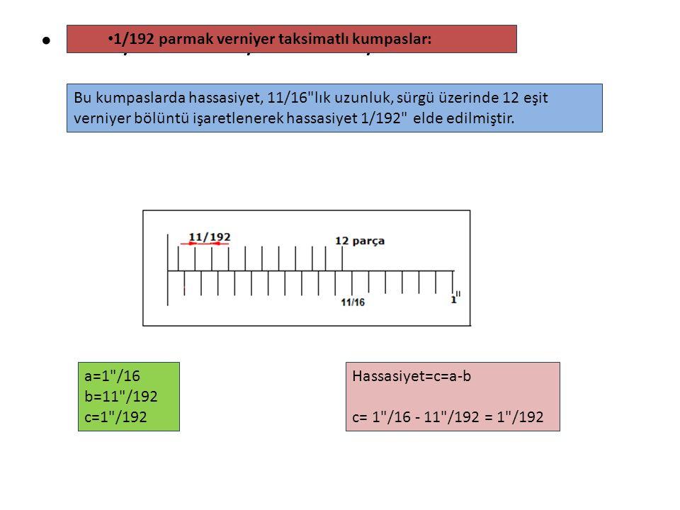 a=1 /16 b=11 /192 c=1 /192 1/192 parmak verniyer taksimatlı kumpaslar: