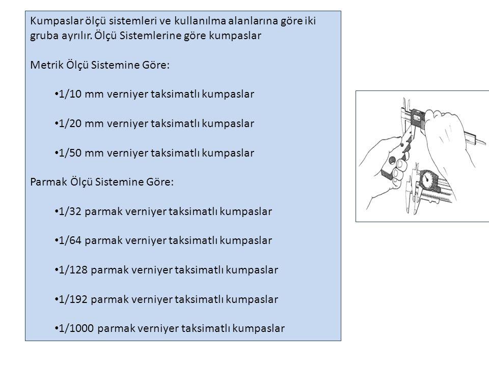 Kumpaslar ölçü sistemleri ve kullanılma alanlarına göre iki gruba ayrılır. Ölçü Sistemlerine göre kumpaslar
