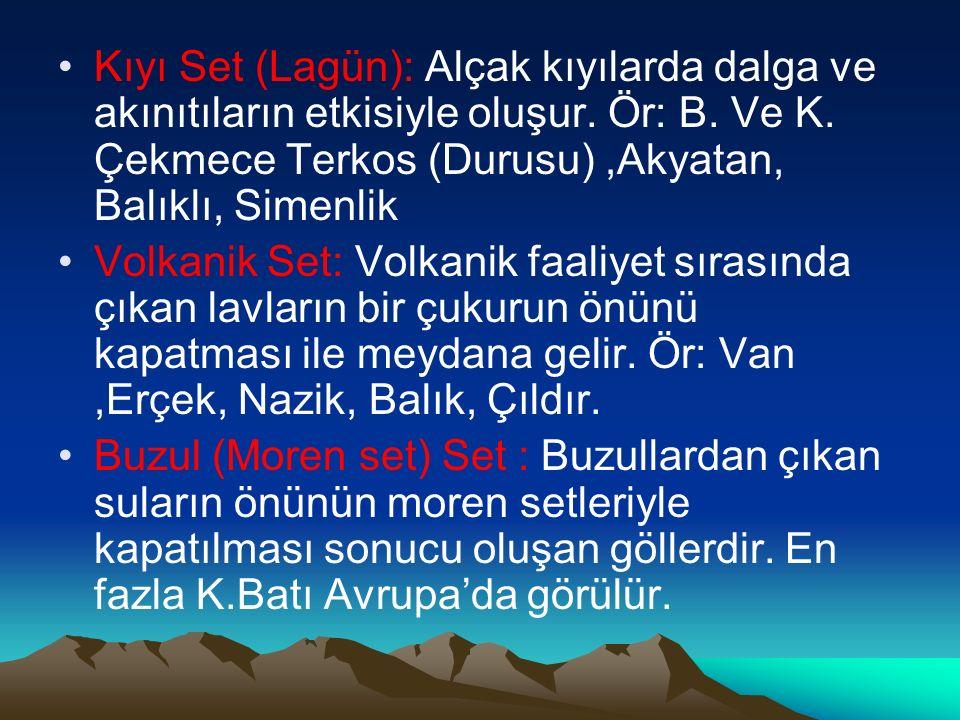 Kıyı Set (Lagün): Alçak kıyılarda dalga ve akınıtıların etkisiyle oluşur. Ör: B. Ve K. Çekmece Terkos (Durusu) ,Akyatan, Balıklı, Simenlik