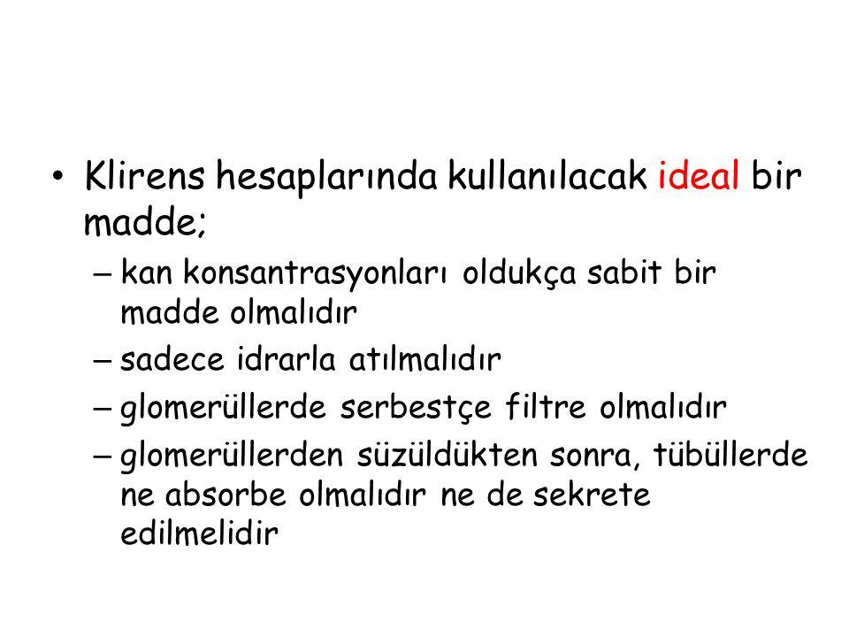 Klirens hesaplarında kullanılacak ideal bir madde;