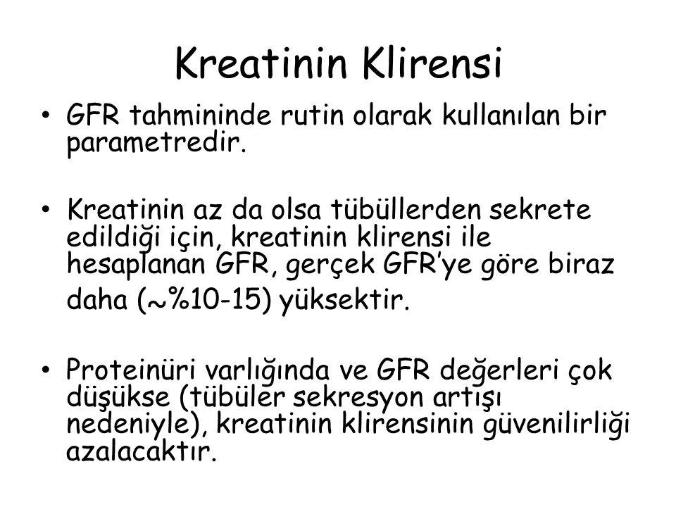 Kreatinin Klirensi GFR tahmininde rutin olarak kullanılan bir parametredir.