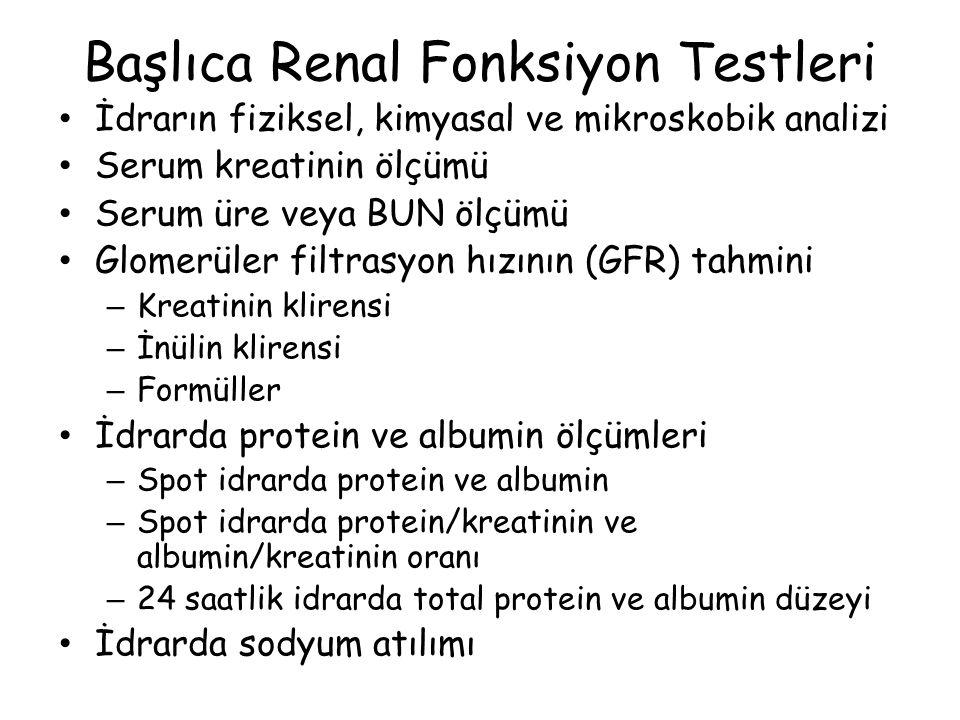Başlıca Renal Fonksiyon Testleri