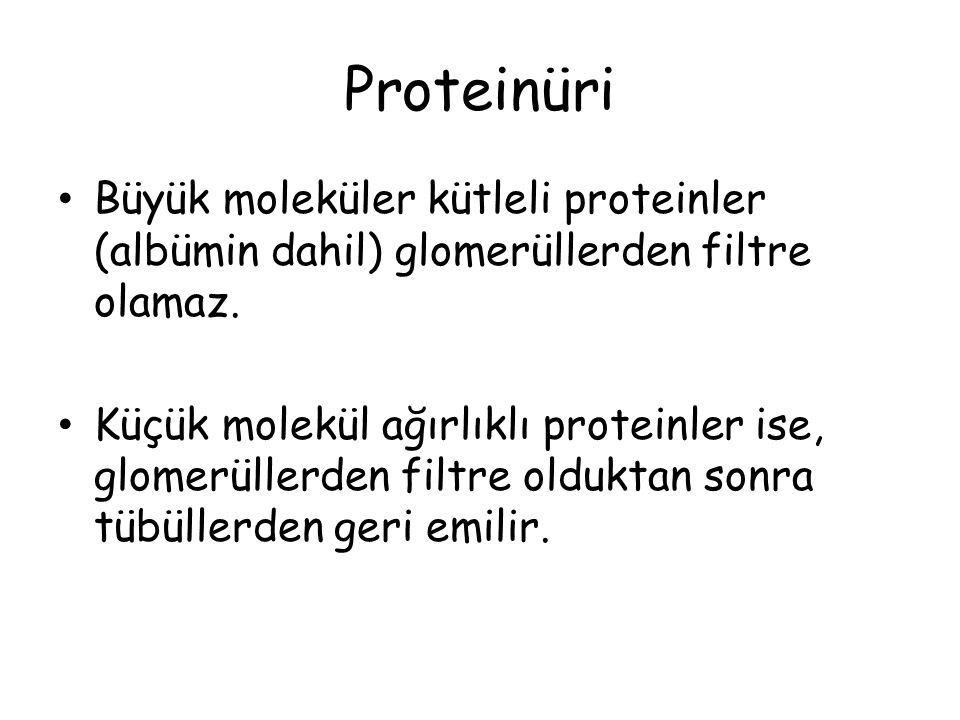 Proteinüri Büyük moleküler kütleli proteinler (albümin dahil) glomerüllerden filtre olamaz.