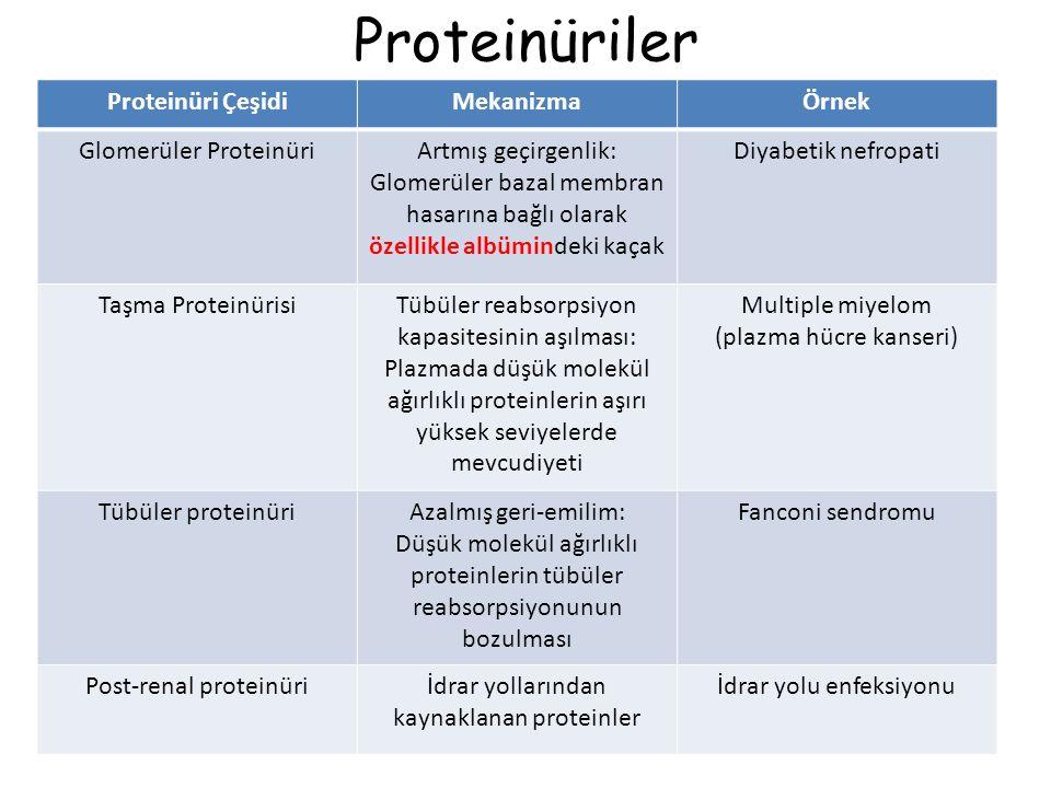 Proteinüriler Proteinüri Çeşidi Mekanizma Örnek Glomerüler Proteinüri