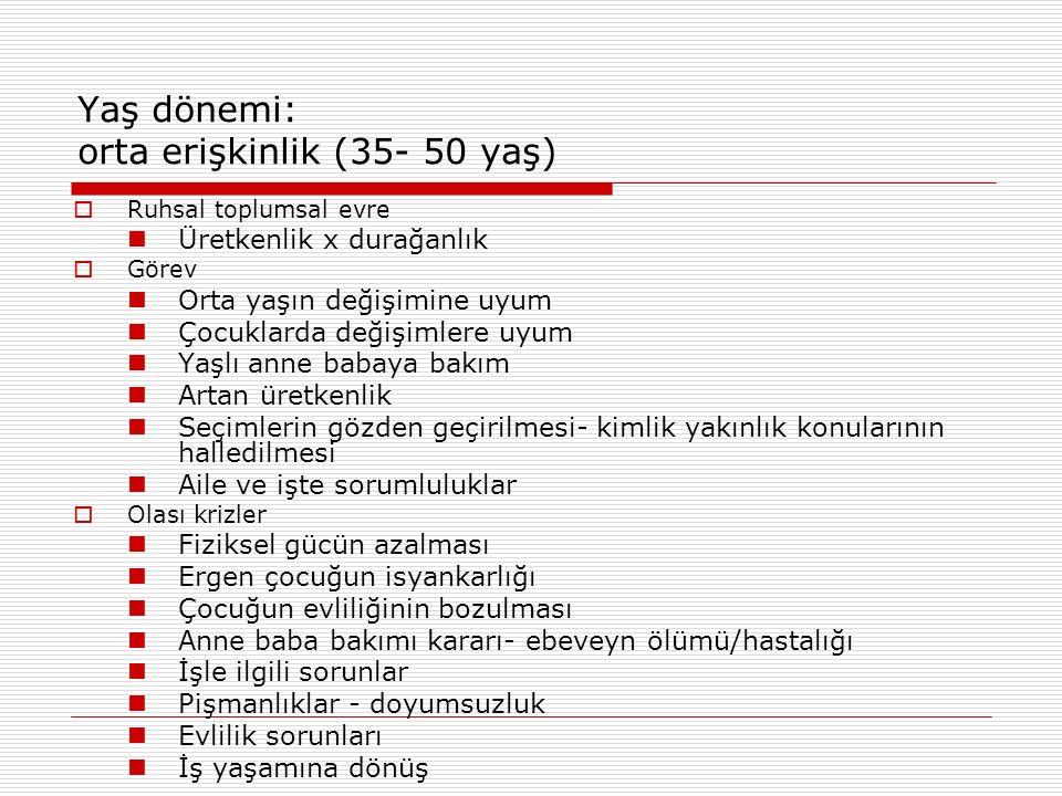 Yaş dönemi: orta erişkinlik (35- 50 yaş)