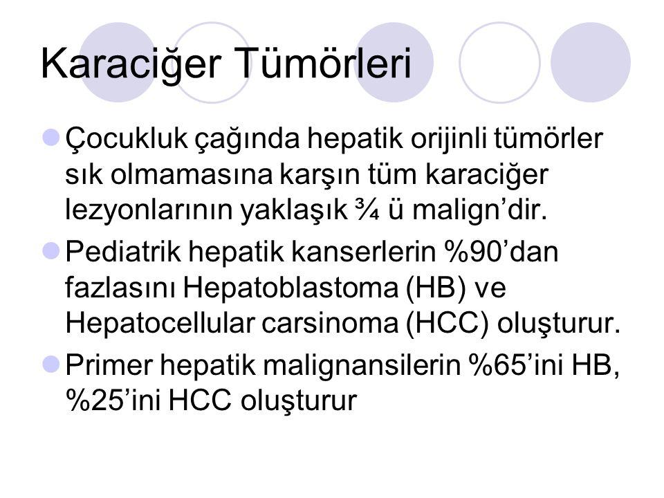Karaciğer Tümörleri Çocukluk çağında hepatik orijinli tümörler sık olmamasına karşın tüm karaciğer lezyonlarının yaklaşık ¾ ü malign'dir.