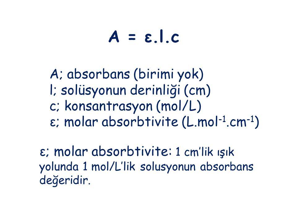 A; absorbans (birimi yok) l; solüsyonun derinliği (cm)