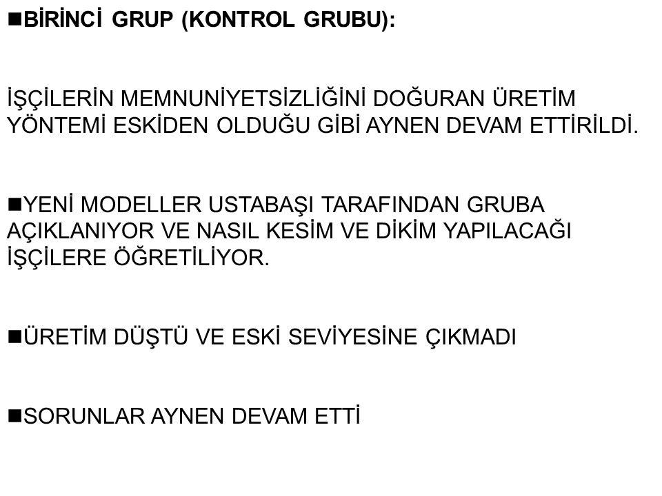 nBİRİNCİ GRUP (KONTROL GRUBU):