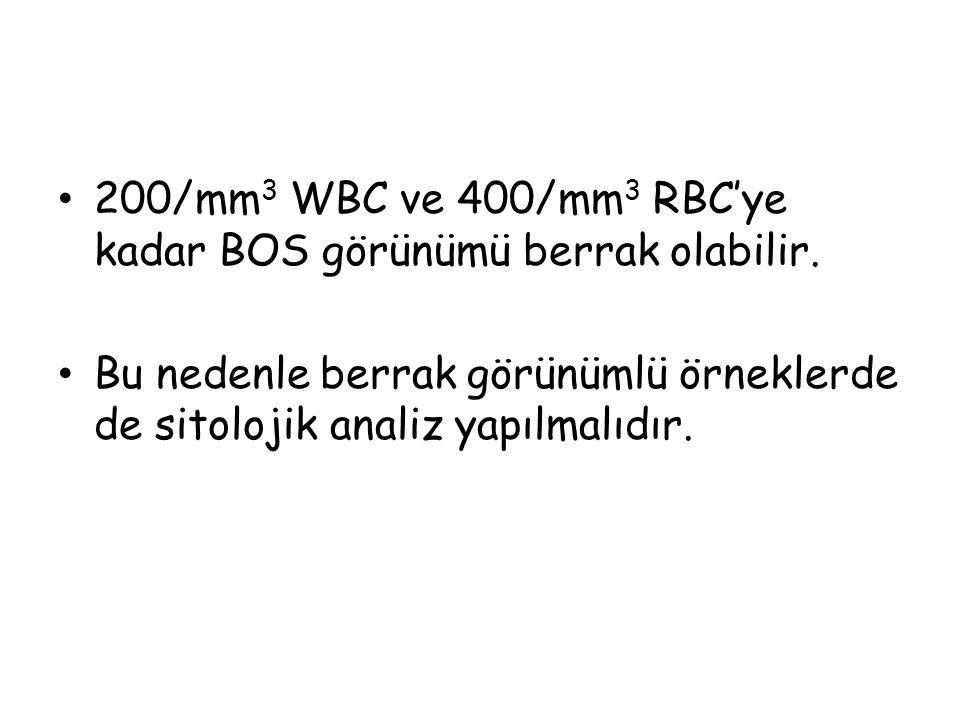200/mm3 WBC ve 400/mm3 RBC'ye kadar BOS görünümü berrak olabilir.
