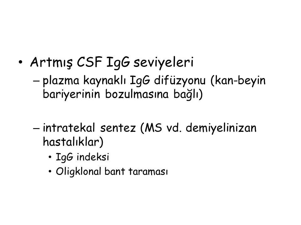 Artmış CSF IgG seviyeleri