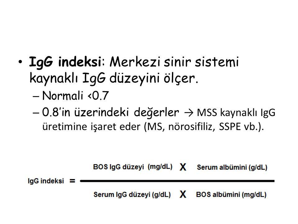 IgG indeksi: Merkezi sinir sistemi kaynaklı IgG düzeyini ölçer.