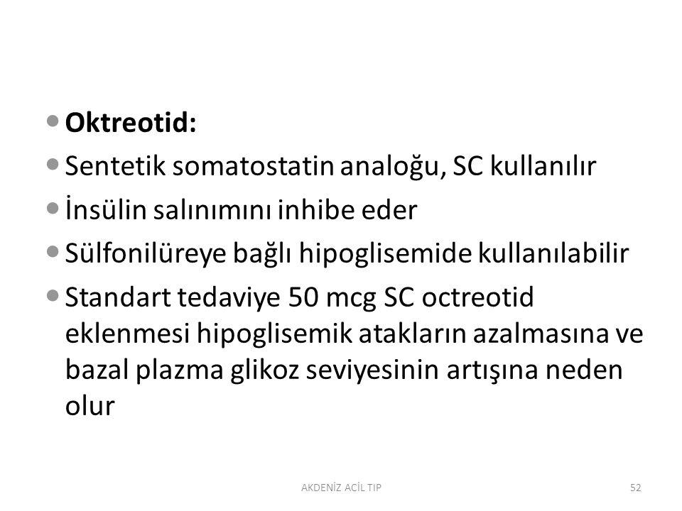 Sentetik somatostatin analoğu, SC kullanılır