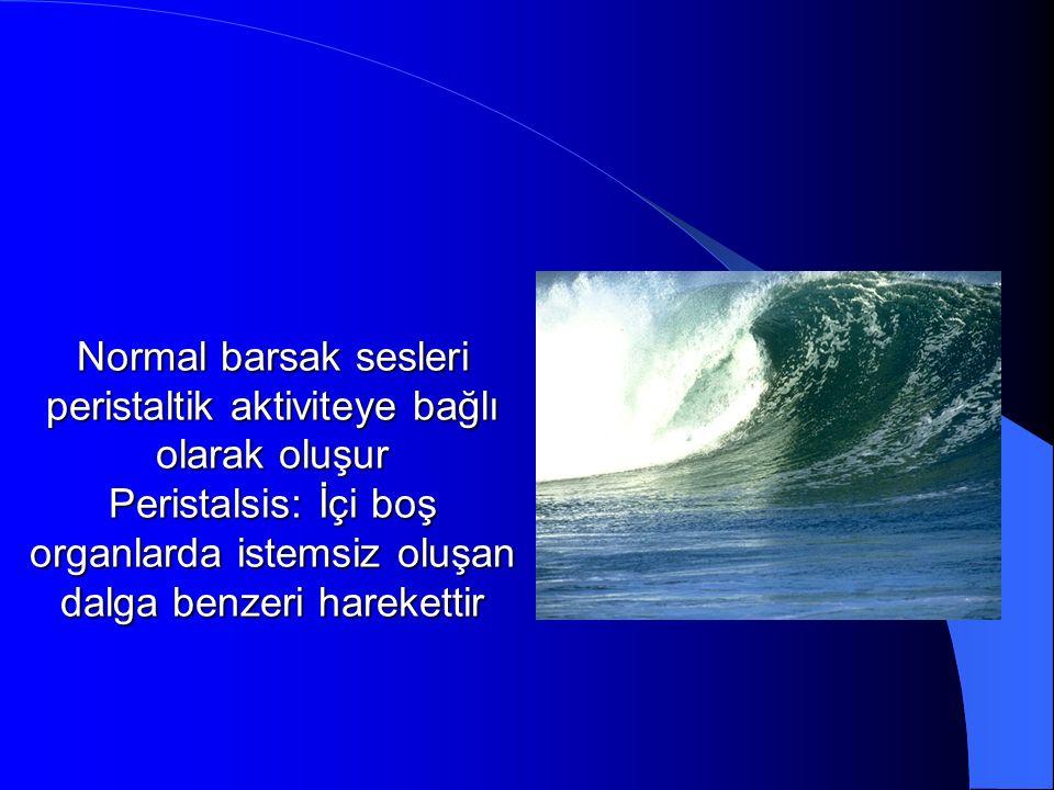 Normal barsak sesleri peristaltik aktiviteye bağlı olarak oluşur Peristalsis: İçi boş organlarda istemsiz oluşan dalga benzeri harekettir