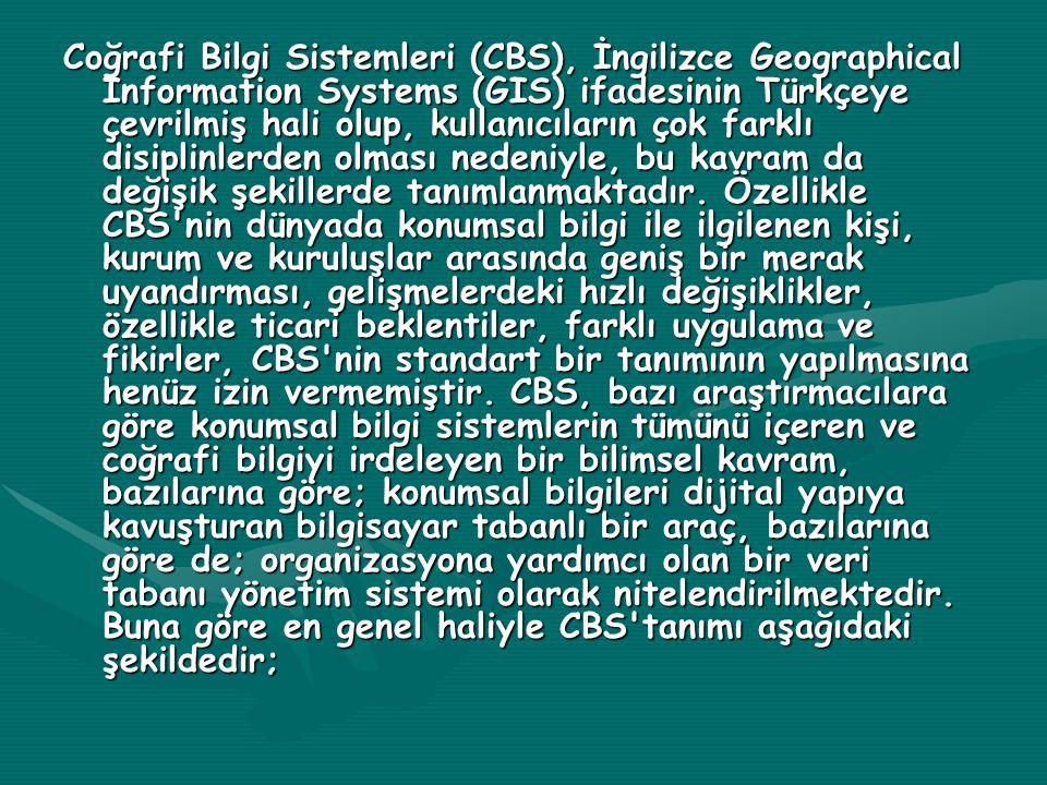 Coğrafi Bilgi Sistemleri (CBS), İngilizce Geographical Information Systems (GIS) ifadesinin Türkçeye çevrilmiş hali olup, kullanıcıların çok farklı disiplinlerden olması nedeniyle, bu kavram da değişik şekillerde tanımlanmaktadır.