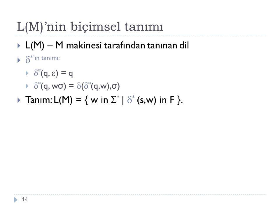 L(M)'nin biçimsel tanımı
