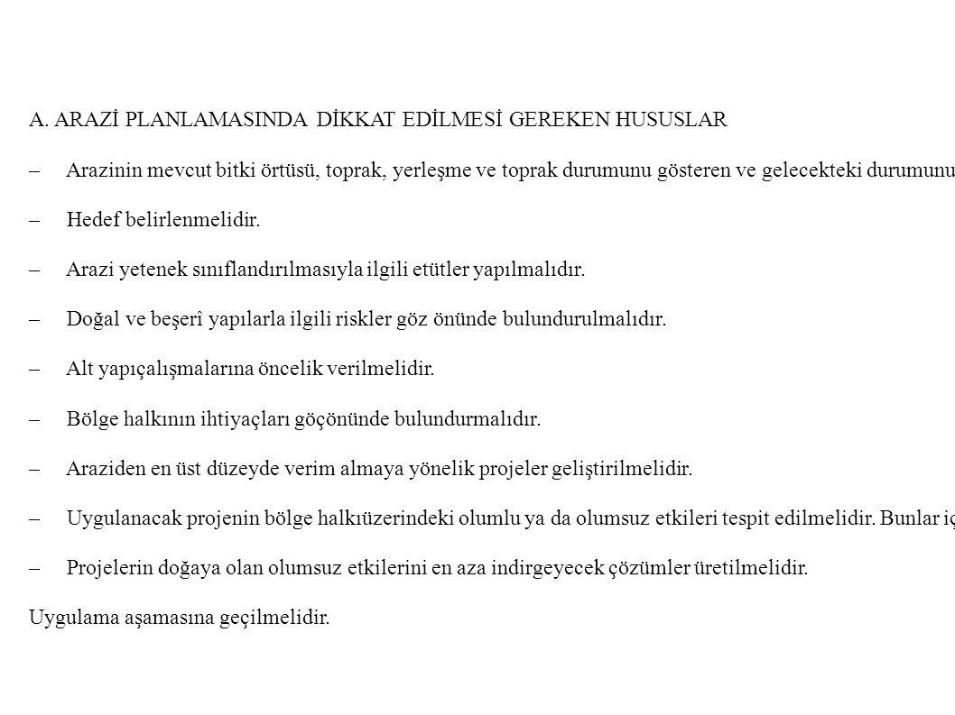 A. ARAZİ PLANLAMASINDA DİKKAT EDİLMESİ GEREKEN HUSUSLAR