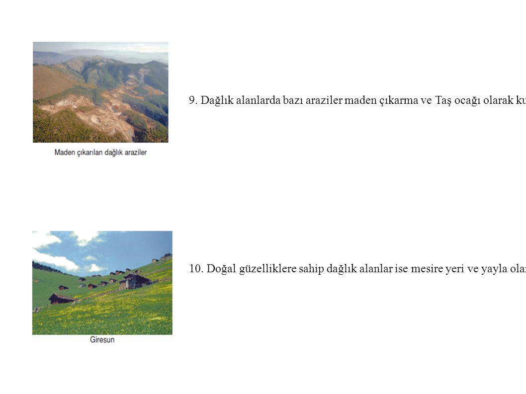 9. Dağlık alanlarda bazı araziler maden çıkarma ve Taş ocağı olarak kullanılmaktadır.