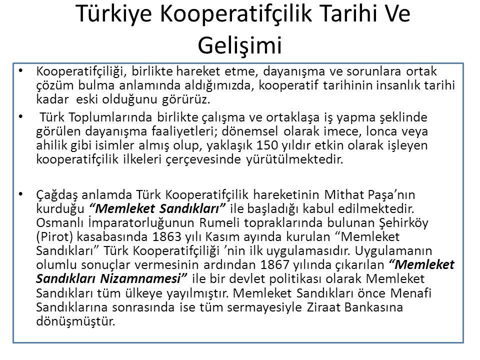 Türkiye Kooperatifçilik Tarihi Ve Gelişimi