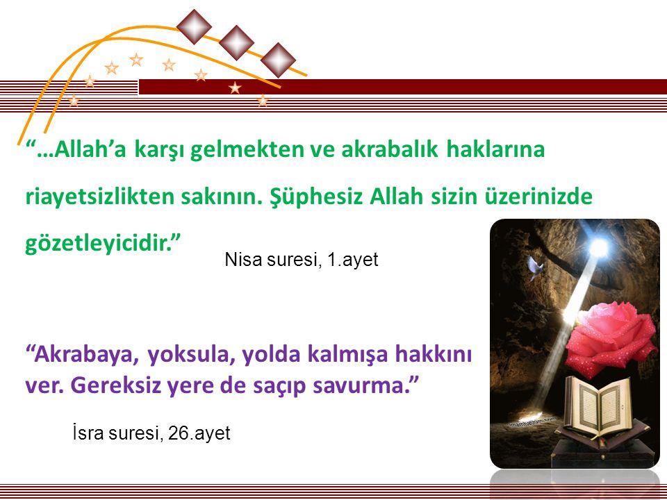 …Allah'a karşı gelmekten ve akrabalık haklarına riayetsizlikten sakının. Şüphesiz Allah sizin üzerinizde gözetleyicidir.