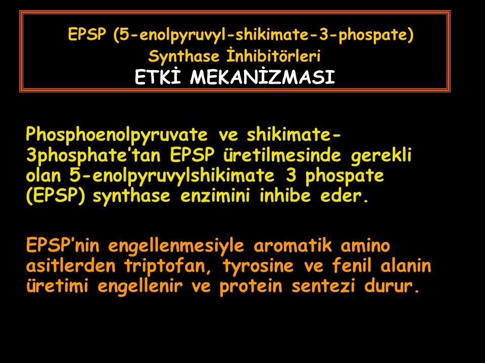 EPSP (5-enolpyruvyl-shikimate-3-phospate) Synthase İnhibitörleri ETKİ MEKANİZMASI