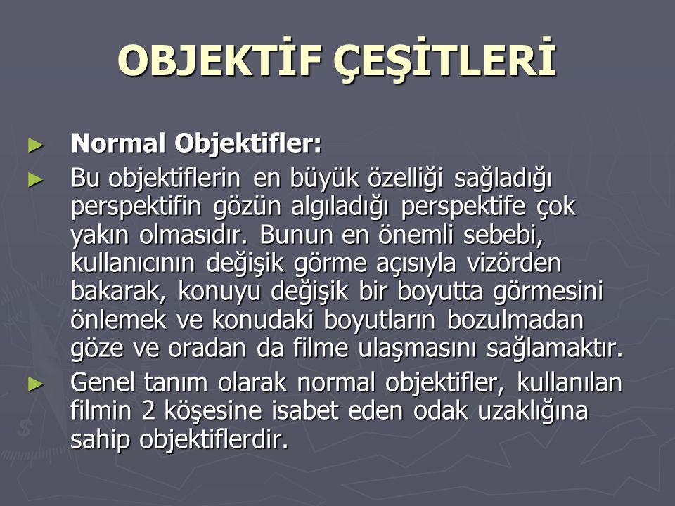 OBJEKTİF ÇEŞİTLERİ Normal Objektifler: