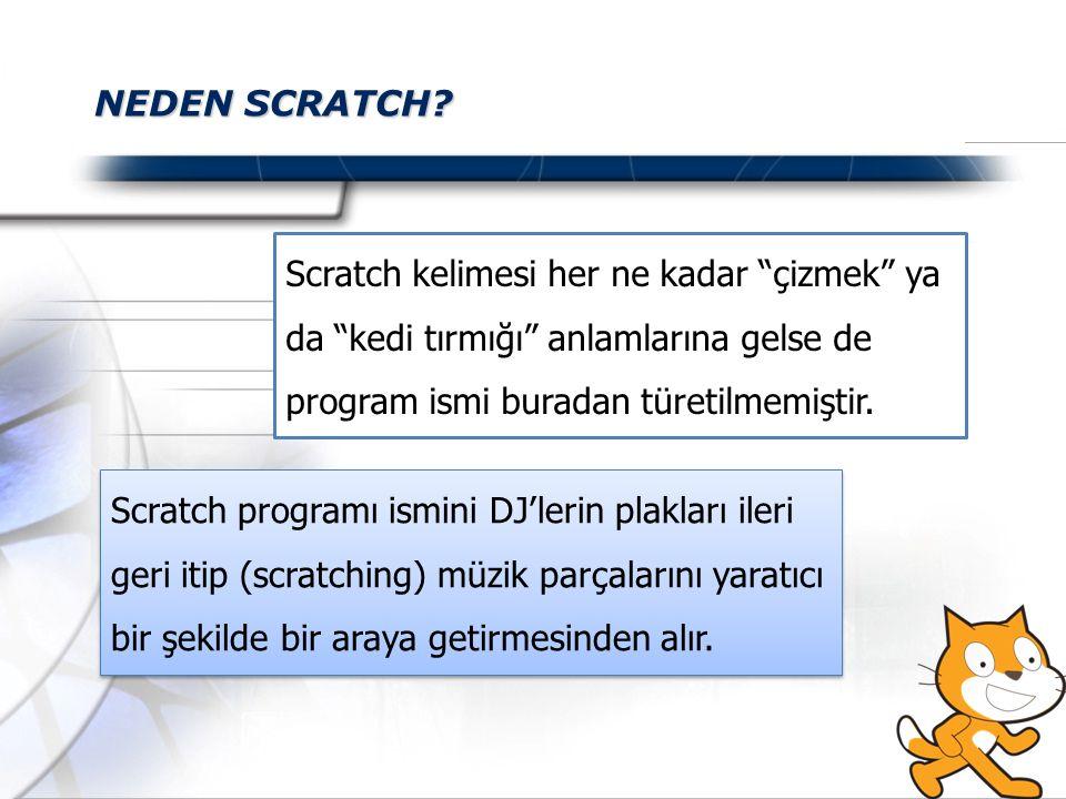 NEDEN SCRATCH Scratch kelimesi her ne kadar çizmek ya da kedi tırmığı anlamlarına gelse de program ismi buradan türetilmemiştir.