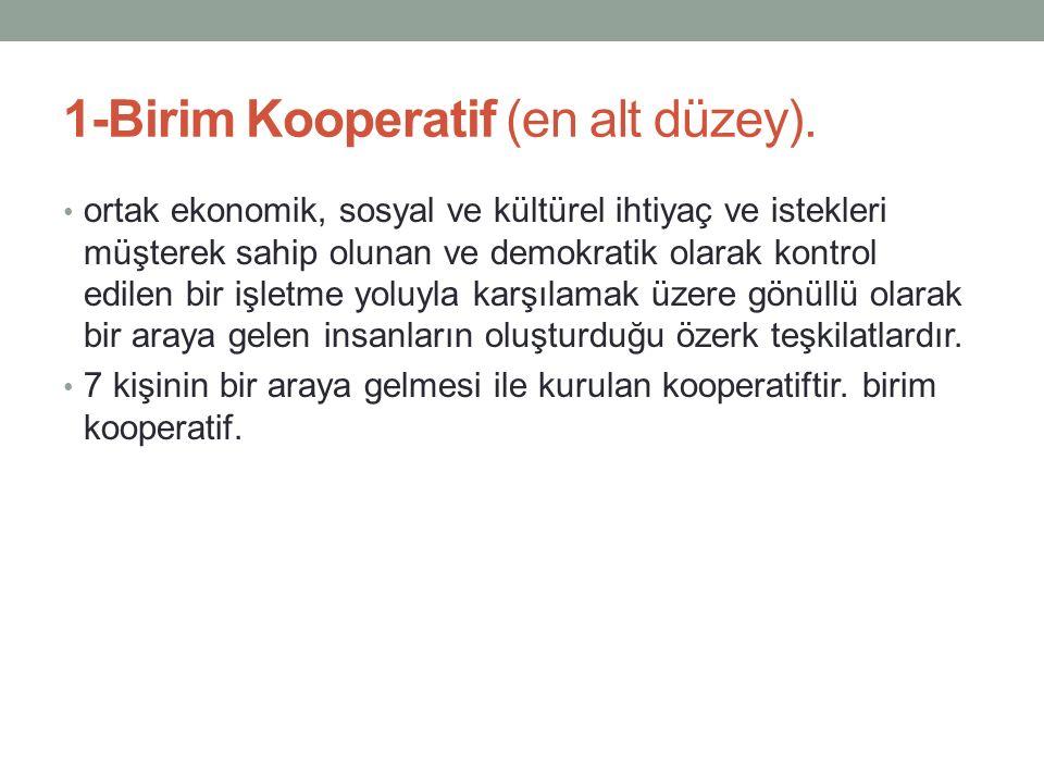 1-Birim Kooperatif (en alt düzey).