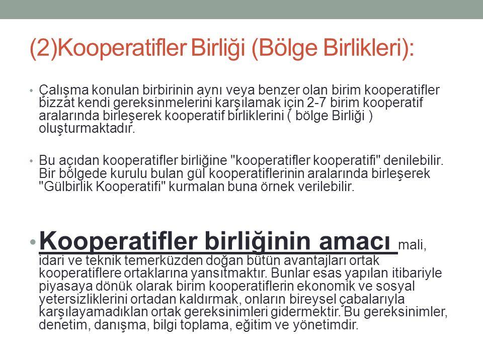 (2)Kooperatifler Birliği (Bölge Birlikleri):