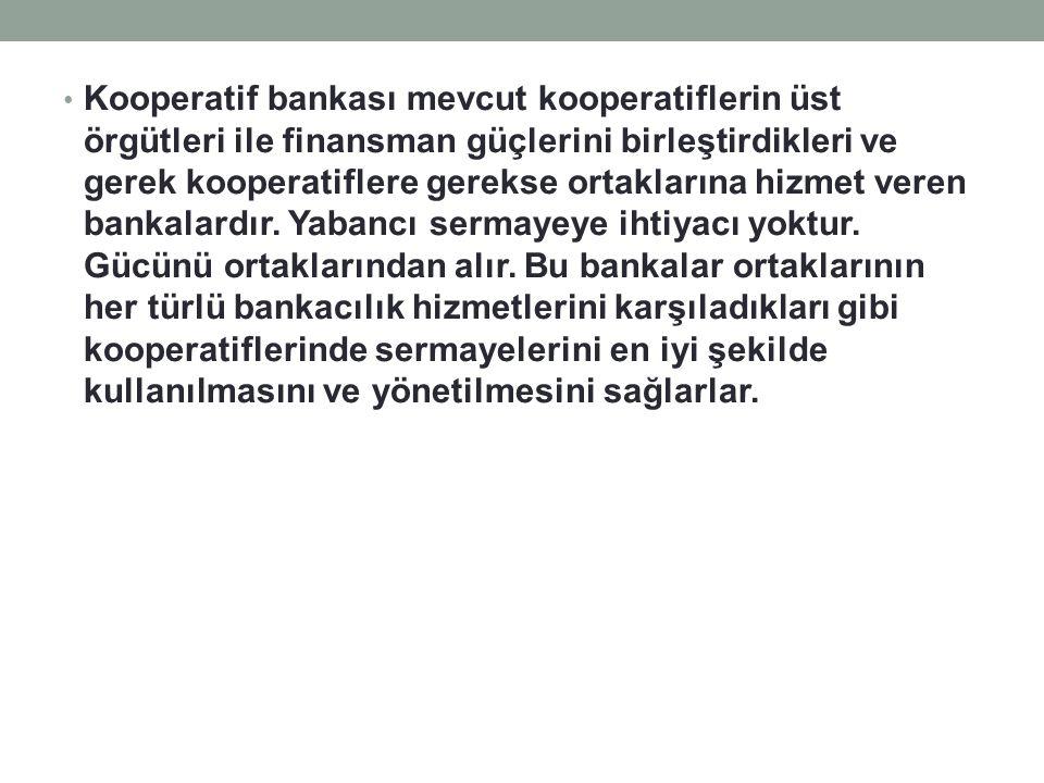 Kooperatif bankası mevcut kooperatiflerin üst örgütleri ile finansman güçlerini birleştirdikleri ve gerek kooperatiflere gerekse ortaklarına hizmet veren bankalardır.
