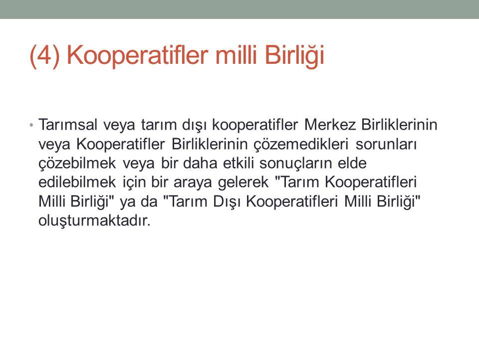 (4) Kooperatifler milli Birliği