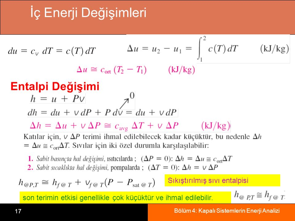 İç Enerji Değişimleri Entalpi Değişimi Sıkıştırılmış sıvı entalpisi