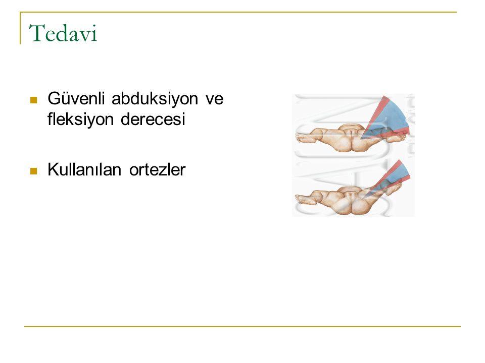 Tedavi Güvenli abduksiyon ve fleksiyon derecesi Kullanılan ortezler