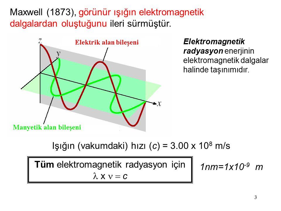 Işığın (vakumdaki) hızı (c) = 3.00 x 108 m/s