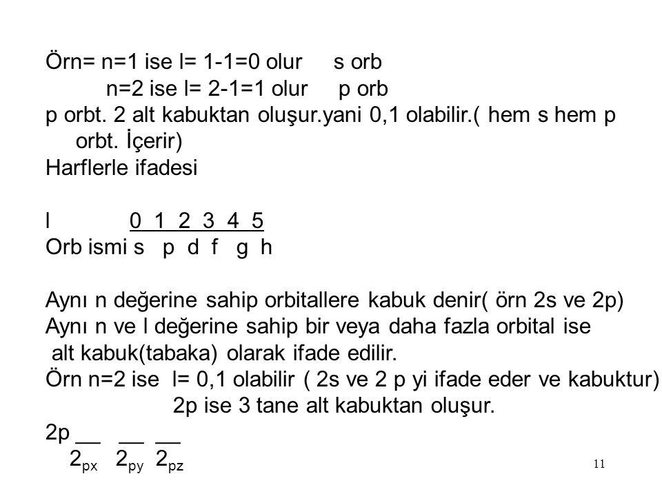 Örn= n=1 ise l= 1-1=0 olur s orb