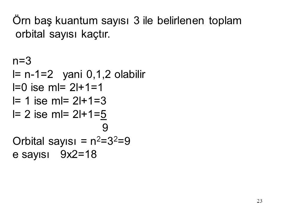Örn baş kuantum sayısı 3 ile belirlenen toplam