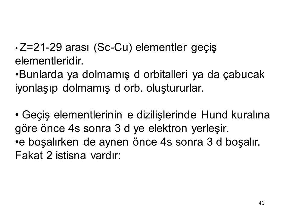 Z=21-29 arası (Sc-Cu) elementler geçiş elementleridir.